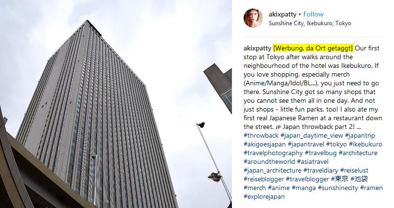 Beispiel Instagram Werbekennzeichnung
