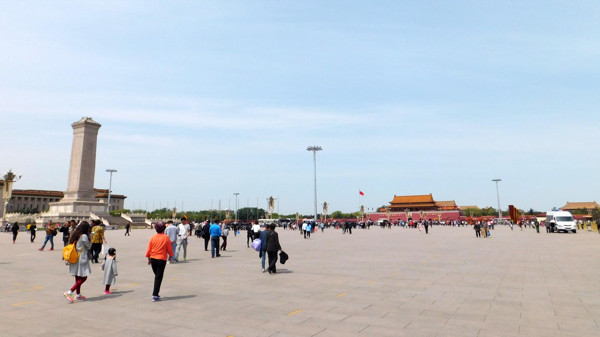 Der Tian'anmen Square mit Sicht auf den Eingang zur Verbotenen Stadt, den Tian'anmen Tower